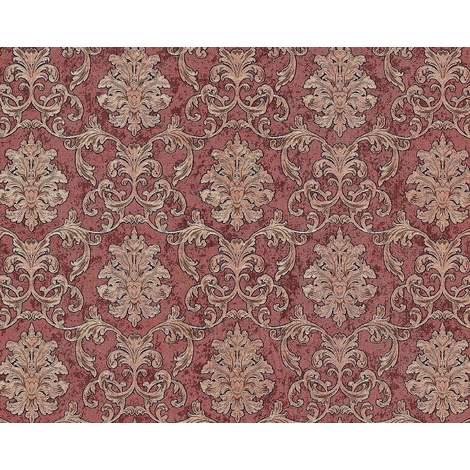 Papier peint baroque EDEM 6001-94 Papier peint intissé gaufré avec des ornements scintillant rouge cuivré or 10,65 m2