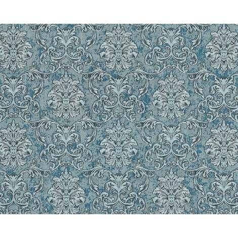 Papier peint baroque EDEM 6001-95 Papier peint intissé gaufré avec des ornements scintillant turquoise argent pétrole 10,65 m2