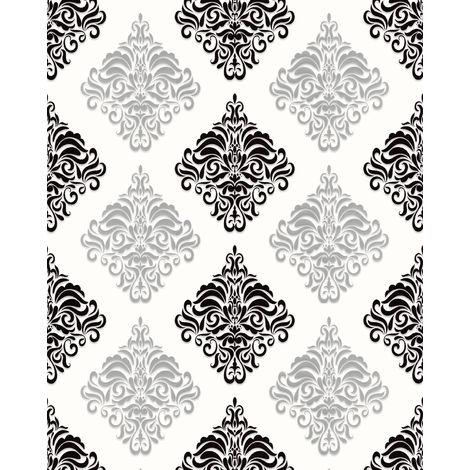 Papier peint baroque EDEM 85024BR20 papier peint vinyle lisse avec des ornements et des accents métalliques blanc noir argent 5,33 m2