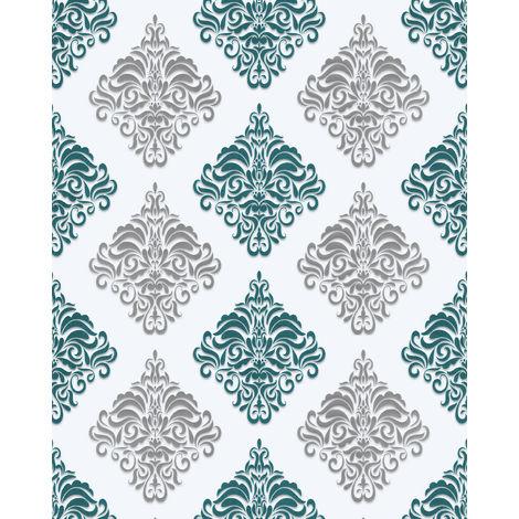 Papier peint baroque EDEM 85024BR25 papier peint vinyle lisse avec des ornements et des accents métalliques blanc turquoise gentiane nacré argent 5,33 m2