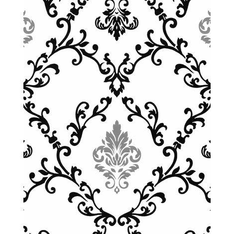Papier peint baroque EDEM 85026BR20 papier peint vinyle lisse avec des ornements et des accents métalliques blanc noir argent 5,33 m2