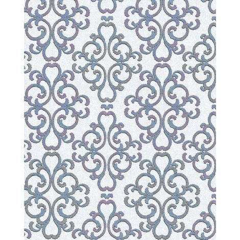 Papier peint baroque EDEM 85037BR30 papier peint texturé au style baroque brillant blanc bleu-turquoise violet argent 5,33 m2