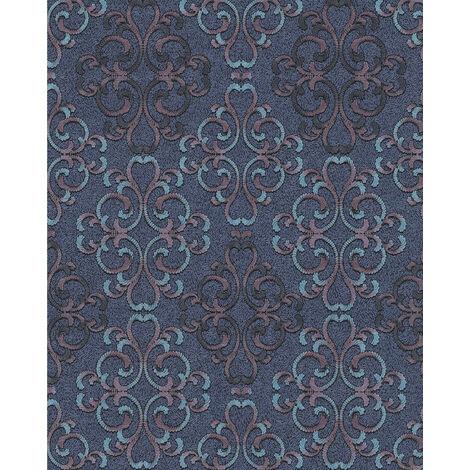 Papier peint baroque EDEM 85037BR32 papier peint texturé au style baroque brillant bleu bleu-turquoise violet noir 5,33 m2