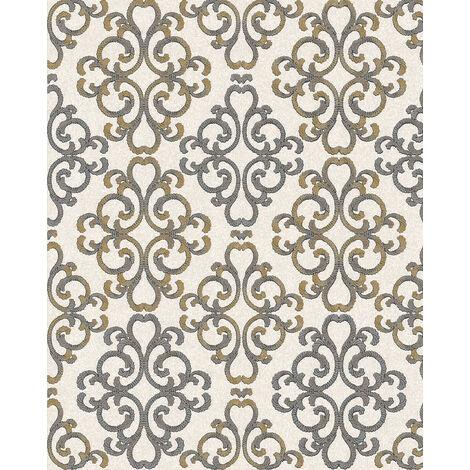 Papier peint baroque EDEM 85037BR33 papier peint texturé au style baroque brillant crème ivoire-clair gris platine jaune or 5,33 m2