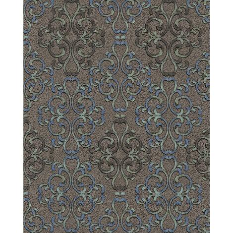 Papier peint baroque EDEM 85037BR36 papier peint texturé au style baroque brillant brun brun-foncé gris bleu platine 5,33 m2