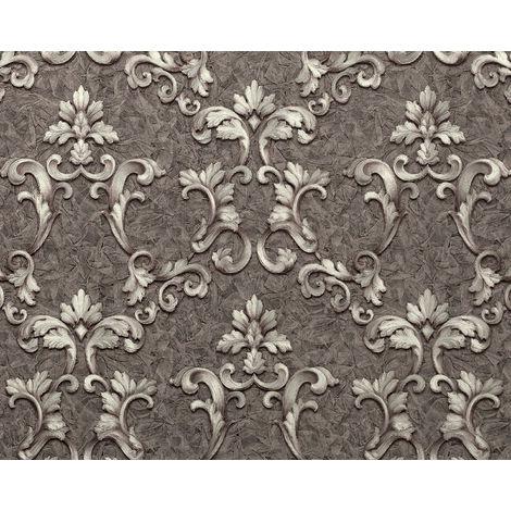 Papier peint baroque EDEM 9085-29 papier peint gaufré à chaud avec dos intissé gaufré avec des ornements floraux 3D satiné gris argent platine 10,65 m