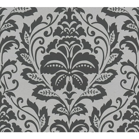 Papier peint baroque Profhome 369102-GU papier peint intissé lisse avec des ornements brillant argent gris 5,33 m2