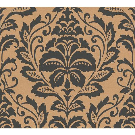 Papier peint baroque Profhome 369104-GU papier peint intissé lisse avec des ornements brillant or brun 5,33 m2