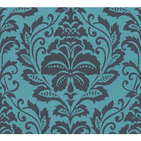 Papier peint baroque Profhome 369105-GU papier peint intissé lisse avec des ornements brillant bleu noir gris 5,33 m2