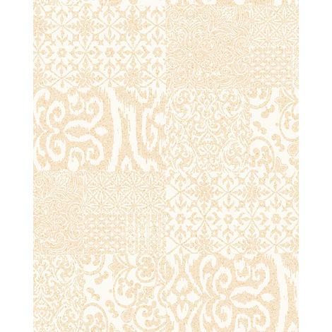 Papier peint baroque Profhome VD219146-DI papier peint intissé gaufré à chaud gaufré au style collage brillant crème or 5,33 m2