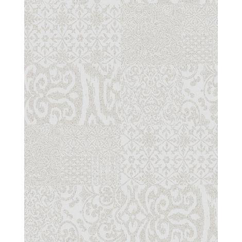 Papier peint baroque Profhome VD219147-DI papier peint intissé gaufré à chaud gaufré au style collage brillant argent 5,33 m2
