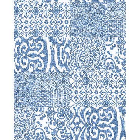 Papier peint baroque Profhome VD219149-DI papier peint intissé gaufré à chaud gaufré au style collage brillant bleu blanc 5,33 m2