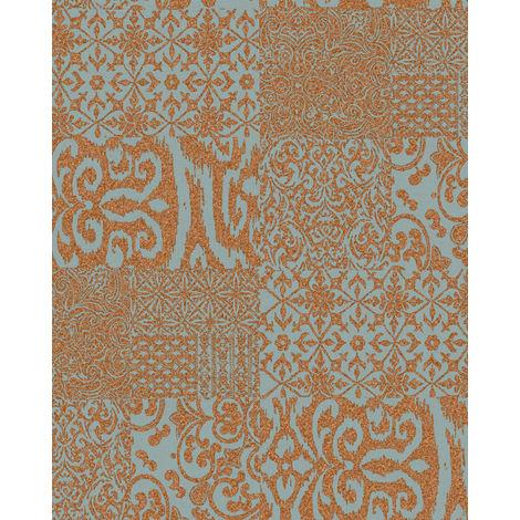 Papier peint baroque Profhome VD219150-DI papier peint intissé gaufré à chaud gaufré au style collage brillant cuivre menthe 5,33 m2