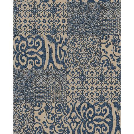 Papier peint baroque Profhome VD219151-DI papier peint intissé gaufré à chaud gaufré au style collage brillant bleu beige 5,33 m2
