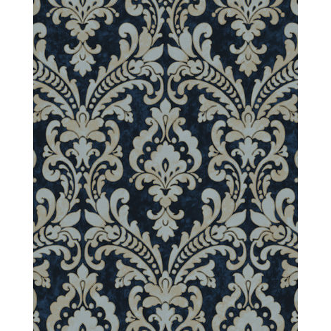 Papier peint baroque Profhome VD219175-DI papier peint intissé gaufré à chaud gaufré avec des ornements satiné bleu or gris clair 5,33 m2