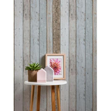 Papier peint bois imitation beige bleu marron pour la cuisine chambre salon 899927 A.S. Création Il Decoro