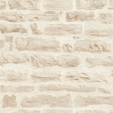 """main image of """"Papier peint brique beige   Papier peint entrée, cuisine & salon   Papier peint crème chic 355803 - 10,05 x 0,53 m"""""""