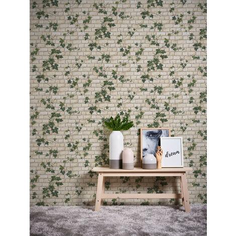Papier peint brique imitation avec feuilles blanc, vert pour la cuisine chambre salon 980434 A.S. Création Dekora Natur 5