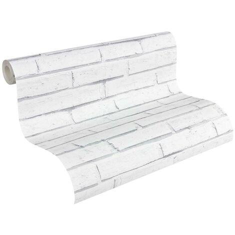 Papier peint brique imitation gris, blanc pour la cuisine chambre salon 301692 Lutèce Authentic Walls