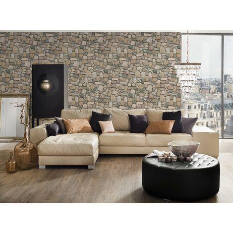 Papier peint brique imitation pierre beige pour la cuisine chambre salon 692412 A.S. Création Dekora Natur 6