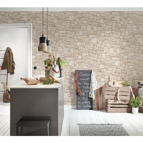 Papier peint brique imitation pierre beige pour la cuisine chambre salon 692429 A.S. Création Dekora Natur 6
