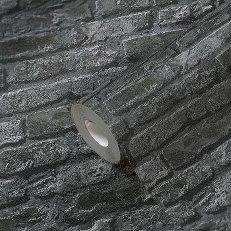 Papier peint brique imitation pierre noir pour la cuisine chambre salon 954701 A.S. Création