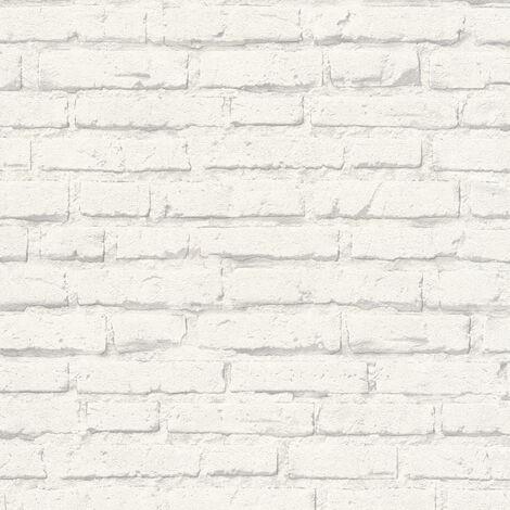 Papier peint brique Papier peint pierre Papier peint imitation brique Papier peint intissé Gris Blanc 343992 - 10,05 x 0,53 m