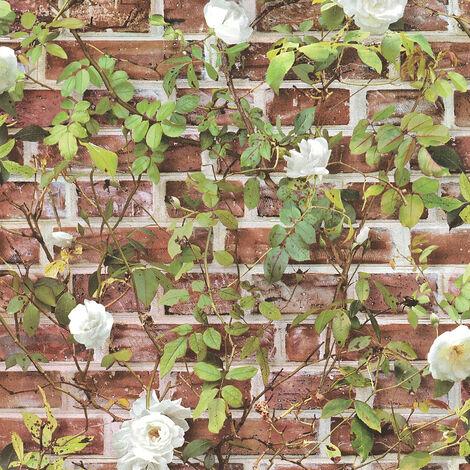 Papier peint brique Papier peint pierre Papier peint imitation brique Papier peint papier Vert Rouge Blanc 365721 - 10,05 x 0,53 m