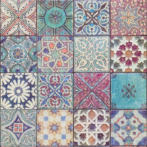 Papier peint carreaux de ciment | Papier peint bleu canard & multicolore | Papier peint vinyle cuisine vintage & salle de bain 362051 - 10,05 x 0,53 m
