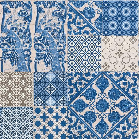 Papier peint carreaux de ciment Papier peint carrelage Tapisserie carreaux de ciment Beige/crème Bleu Violet SP14675 369231 - 10,05 x 0,53 m