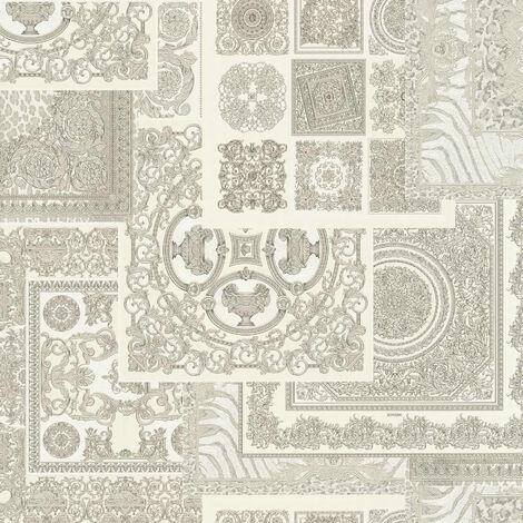 Papier peint carreaux de ciment Papier peint carrelage Tapisserie carreaux de ciment Gris Métallique Argent Blanc 370485 - 10,05 x 0,70 m