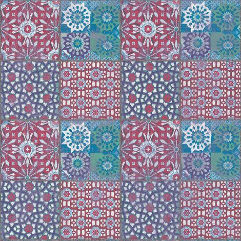Papier peint carreaux de ciment Papier peint carrelage Tapisserie carreaux de ciment Papier peint cuisine Bleu Vert Rouge 368952 - 10,05 x 0,53 m