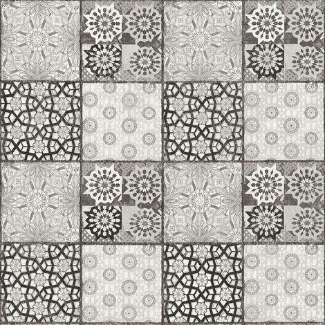 Papier peint carreaux de ciment Papier peint carrelage Tapisserie carreaux de ciment Papier peint cuisine Gris Anthracite Blanc 368954 - 10,05 x 0,53 m