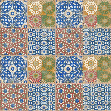 Papier peint carreaux de ciment Papier peint carrelage Tapisserie carreaux de ciment Papier peint cuisine Marron Vert Rouge 368951 - 10,05 x 0,53 m