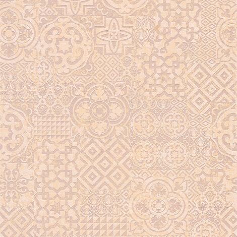 Papier peint carreaux de ciment Papier peint cuisine Papier peint intissé Beige/crème Marron Orange 341453 - 10,05 x 0,53 m