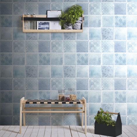 Papier peint carreaux de ciment | Papier peint salle de bain & cuisine | Papier peint bleu marine | Papier peint imitation carrelage 373882 - 10,05 x 0,53 m