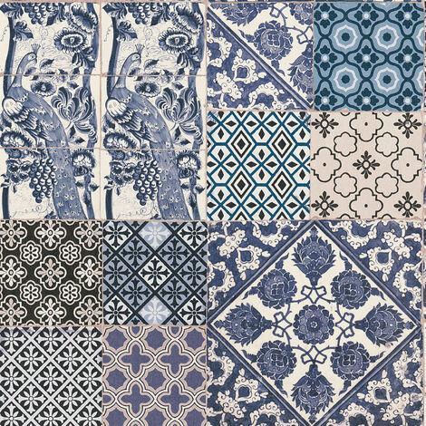 Papier peint carreaux de ciment Tapisserie carreaux de ciment Papier peint cuisine Papier peint Beige/crème Bleu Blanc SP14676 369232 - 10,05 x 0,53 m