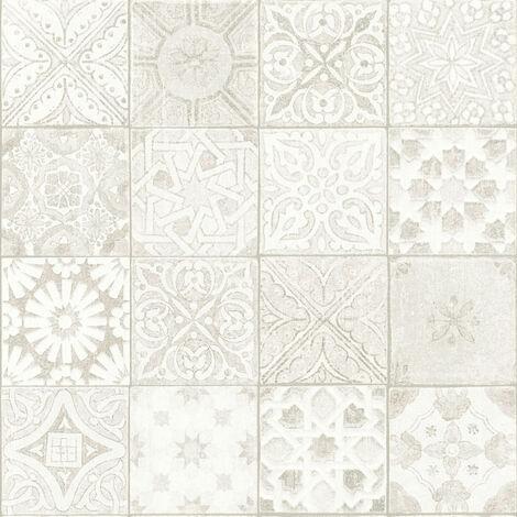 Papier peint carreaux de ciment Tapisserie carreaux de ciment Papier peint cuisine Papier peint intissé Beige/crème Gris Blanc 362052 - 10,05 x 0,53 m