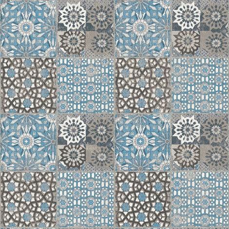 Papier peint carreaux de ciment Tapisserie carreaux de ciment Papier peint cuisine Papier peint intissé Bleu Gris Anthracite 368955 - 10,05 x 0,53 m