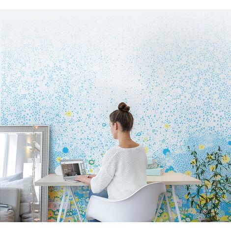 Papier-peint Champs de fleurs de printemps bleu - Bleu