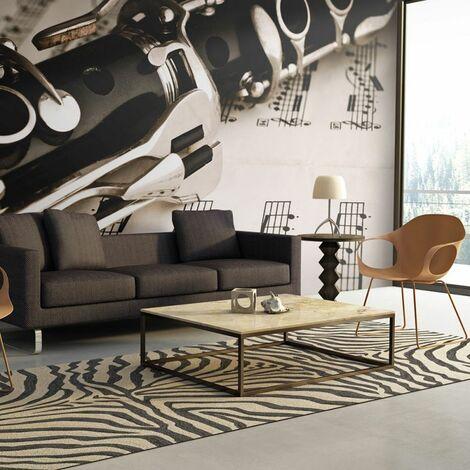 Papier peint - Clarinette et notes de musique .Taille : 200x154