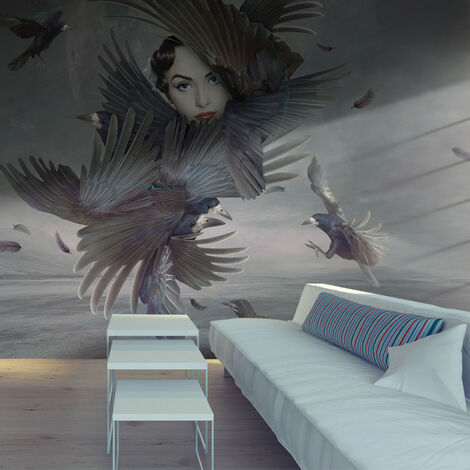 Papier peint - Couverte de plumes 350x270