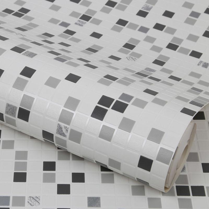 Papier Peint Cuisine Et Salle De Bain Contour Checker Blanc Gris 52 Cm X 10 05m