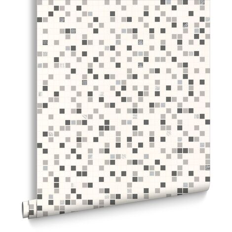 Papier Peint Cuisine et Salle de Bains Checker 1005 x 52cm Blanc Gris