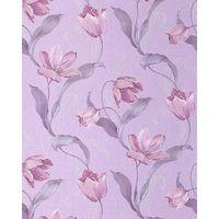 Papier peint de luxe tulipes fleurs EDEM 828-29 couleurs brillants bleu pastel gris platine rose violet | 70 cm