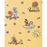 Papier peint d'enfant EDEM 007-21 doux jaune avec lion lièvre abeille soleil