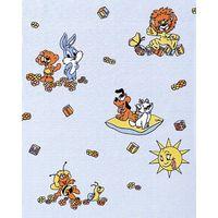Papier peint d'enfant EDEM 007-22 bleu clair avec lion lièvre ourson soleil