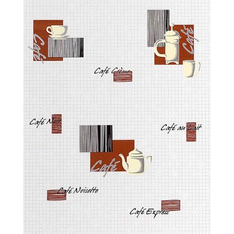 Papier peint design café motifs EDEM 062-20 café-bar aspect carrelage mosaïque blanc brun chocolat noir argent | 5,33 m2