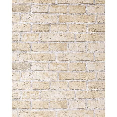 Papier peint design vintage rustique EDEM 583-20 aspect mur de briques bricks brix beige sable