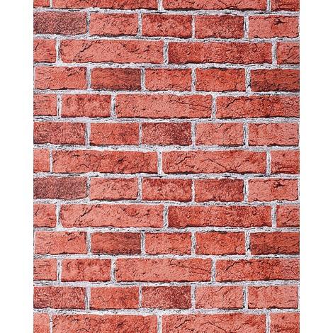 Papier peint design vintage rustique EDEM 583-24 aspect mur de briques bricks brix rouge brique rouge rouge-terre